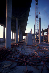 Stock photo of wood and debris scattered around a construction site