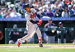 April 8, 2018 - Denver, CO, U.S. - DENVER, CO - APRIL 08: Atlanta Braves Infielder Ozzie Albies (1) connects for a ground rule double during a regular season MLB game between the Colorado Rockies and the visiting Atlanta Braves on April 8, 2018 at Coors Field in Denver, CO. (Photo by Russell Lansford/Icon Sportswire) (Credit Image: © Russell Lansford/Icon SMI via ZUMA Press)