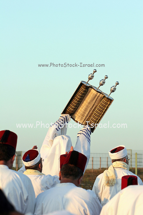 Israel, West Bank, samaritan raising of the Torah Scrolls on mount gerizim