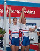 Amsterdam. NETHERLANDS.  GBR W2-, left. Helen GLOVER and Heather STANNING, Gold Medalist Women's Pair, winning the Gold Medalist, Men's Four. De Bosbaan Rowing Course, venue for the 2014 FISA  World Rowing. Championships.  12:58:43  Saturday  30/08/2014[Mandatory Credit; Peter Spurrier/Intersport-images]