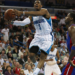 25 February 2009: New Orleans Hornets guard Chris Paul (3) drives and shoots over Detroit Pistons forward Antonio McDyess (24) during a 90-87 win by the New Orleans Hornets over the Detroit Pistons at the New Orleans Arena in New Orleans, Louisiana.