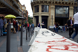 September 7, 2017 - Toulouse, France - For the 'Big Liquidation Sale', French town of Toulouse beef up security with police, military presence, municipal police, bollards and barriers. These security measures are mean to block a van attack similar to the Nice attack or the Barcelona attack. Toulouse. September 7th 2017. (Credit Image: © Alain Pitton/NurPhoto via ZUMA Press)