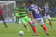 Forest Green Rovers Liam Noble(8) takes on Exeter City's Jordan Moore-Taylor(15) during the EFL Sky Bet League 2 match between Forest Green Rovers and Exeter City at the New Lawn, Forest Green, United Kingdom on 9 September 2017. Photo by Shane Healey.