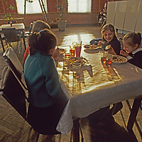 Soviet children breakfast in a communal dining hall in Pyramiden, one of the world's northernmost towns that is situated on Norway's Spitsbergen Island due to an unusual treaty.