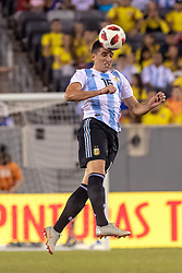 September 11, 2018 - East Rutherford, NJ, U.S. - EAST RUTHERFORD, NJ - SEPTEMBER 11: Argentina midfielder Rodrigo Battaglia (16) heads the ball during the first half of the International Friendly Soccer match between Argentina and Colombia on September 11, 2018 at MetLife Stadium in East Rutherford, NJ. (Photo by John Jones/Icon Sportswire) (Credit Image: © John Jones/Icon SMI via ZUMA Press)
