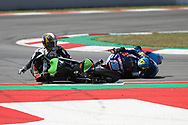#19 Gabriel RODRIGO ARGKömmerling Gresini Moto3 Honda crashes into #40 Darryn BINDER RSA CIP Green Power KTM during the Gran Premi Monster Energy de Catalunya at Circuit de Barcelona – Catalunya, Barcelona, Spain on 16 June 2019.