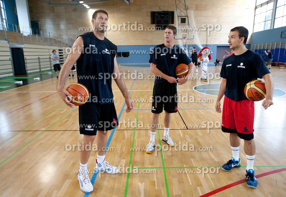 Goran Jagodnik, Luka Lapornik and Daniel Vujasinovic during media day at training camp of Slovenian National Basketball team for Eurobasket Lithuania 2011, on July 19, 2011, in Arena Ljudski vrt, Ptuj, Slovenia.  (Photo by Vid Ponikvar / Sportida)