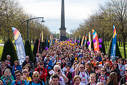 Glasgow, UK. 29 April, 2018. Start of Kiltwalk 2018 at Glasgow Green in Glasgow. Major charity fundraising walk is taking place in Scotland supported by The Hunter Foundation. Route is 23 Miles and ends at Balloch. Pictured; Walkers line up at the start of the event.