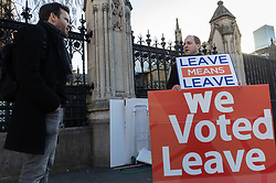 Bild journalist Philip Fabian speaks with an anti-EU demonstrator outside the Houses of Parliament in Westminster. London, January 14 2019.