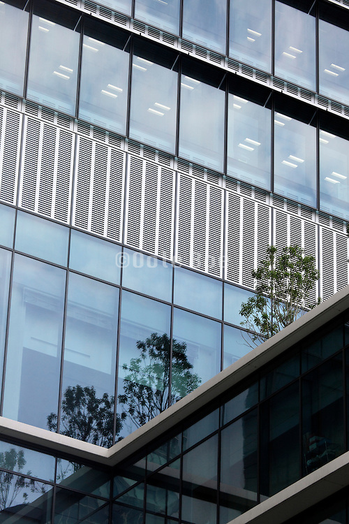 green garden on roof of modern office building, Tokyo Japan