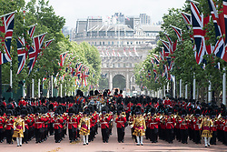 © Licensed to London News Pictures. 08/06/2019. London, UK. The Queen's Guard parade down The Mall during Trooping the Colour ceremony to mark Queen Elizabeth II's 93rd birthday. Photo credit: Ray Tang/LNP
