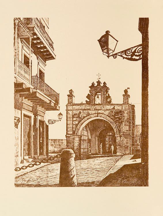 "Cat. #5 - Lithographic print of Pen and Ink drawing of Capilla del Cristo, 1638, originally dedicated to St. Catherine (Santa Catalina), where, according to legend, a miracle happened, is located at the bottom of Calle del Santo Cristo in Old San Juan, Puerto Rico. This print is part of a series printed on antique colored paper.<br /> Paper size is 10x13"". Image size is approximately 8x10"" <br /> Cat. #5 - Impresión litográfica de un dibujo a plumilla de la Capilla de Cristo, 1638, originalmente dedicada a Santa Catalina y en donde cuenta la leyenda ocurrio un milagro, esta situada al final de la Calle del Santo Cristo en el Viejo San Juan, Puerto Rico. Esta impresión es parte de una serie impresa en papel estilo antiguo.<br /> Tamaño del papel es 10x13"". Tamaño de la imagen es aproximadamente 8x10"""