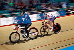 Ethan Hayter in action in Heat 2 of the 40 Lap Derny during day one of the Six Day Series Manchester at the HSBC UK National Cycling Centre.