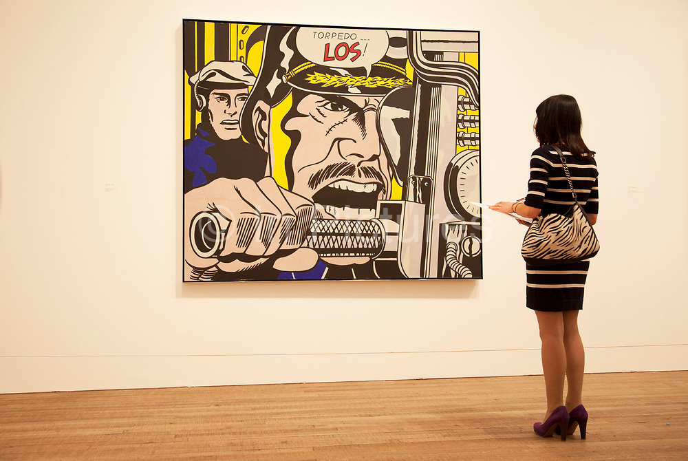 London, UK. Monday 18th February 2013. Lichtenstein: A Retrospective at  Tate Modern brings together 125 of artist Roy Lichtenstein's most definitive paintings and sculptures. Torpedo... Los! (1963)