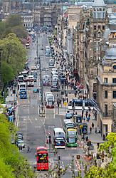 View along Princes Street , busy shopping street, in Edinburgh, Scotland, UK.