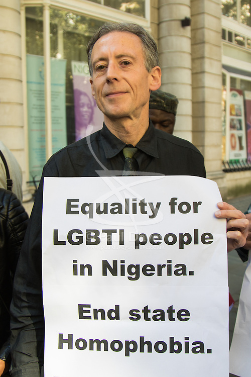 London, September 30th 2015. LGBT protesters demonstrate outside the Nigerian High Commission in London  demanding the repeal of the country's anti-LGBT laws, handing over a petition with over 65,000 signatures demanding that President Muhammadu Buhari  upholds LGBTI human rights. PICTURED: LGBTI and human rights campaigner Peter Tatchell speaks to the crowd.