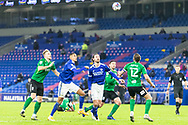 Birmingham City's Harlee Dean (12) competes for a high ball with Cardiff City's Sean Morrison (4)*** during the EFL Sky Bet Championship match between Cardiff City and Birmingham City at the Cardiff City Stadium, Cardiff, Wales on 16 December 2020.