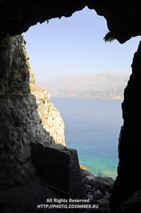 Libyan sea near Plakias (Crete) through the cave