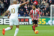 Southampton's Ryan Bertrand (r) in action. Barclays Premier league match, Swansea city v Southampton at the Liberty Stadium in Swansea, South Wales on Saturday 13th February 2016.<br /> pic by  Carl Robertson, Andrew Orchard sports photography.