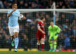 Manchester City's Gabriel Jesus (centre) celebrates scoring his side's first goal of the game during the UEFA Champions League, Quarter Final at the Etihad Stadium, Manchester.