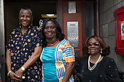 Residents at 269 Leigham Court Road sheltered housing celebrate after the premises is renamed Macintosh Court on 19th June 2016 in South London, United Kingdom. Macintosh Court Formally 269 Leigham Court Road was designed by architect Kate Macintosh, and brutalist in design. In May 2015, residents campaigned to Historic England and the building was awarded Grade II listing. In June 2016, the council announced plans to regenerate the estate, rather than rebuild.