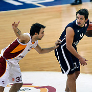 Anadolu Efes's Kerem Tunceri (R) during their Euroleague Top 16 basketball match Galatasaray MP between Anadolu Efes at the Abdi Ipekci Arena in Istanbul at Turkey on Wednesday, February, 22, 2012. Photo by TURKPIX