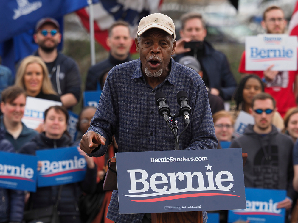 Actor Danny Glover addresses supporters of Presidential candidate Bernie Sanders at the final South Carolina rally before the February 29 primary vote.