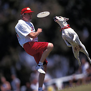 Rascal leaps for Frisbee as trainer Steve Walsh watches during the Dog Chow Incredible Dog Challenge competition in San Diego, California.
