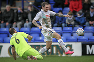 James Norwood (Tranmere Rovers) attempts to go past Luke Foster (c) (Southport) during the Vanarama National League match between Tranmere Rovers and Southport at Prenton Park, Birkenhead, England on 6 February 2016. Photo by Mark P Doherty.