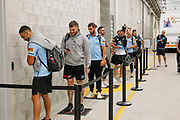 Players queue outside the Clean Zone to get their temperatures checked.<br /> 2020 NRL Round 04 - North Queensland Cowboys v Cronulla-Sutherland Sharks, Queensland Country Bank Stadium, 2020-06-06. Digital image by Michael Chambers � NRL Photos