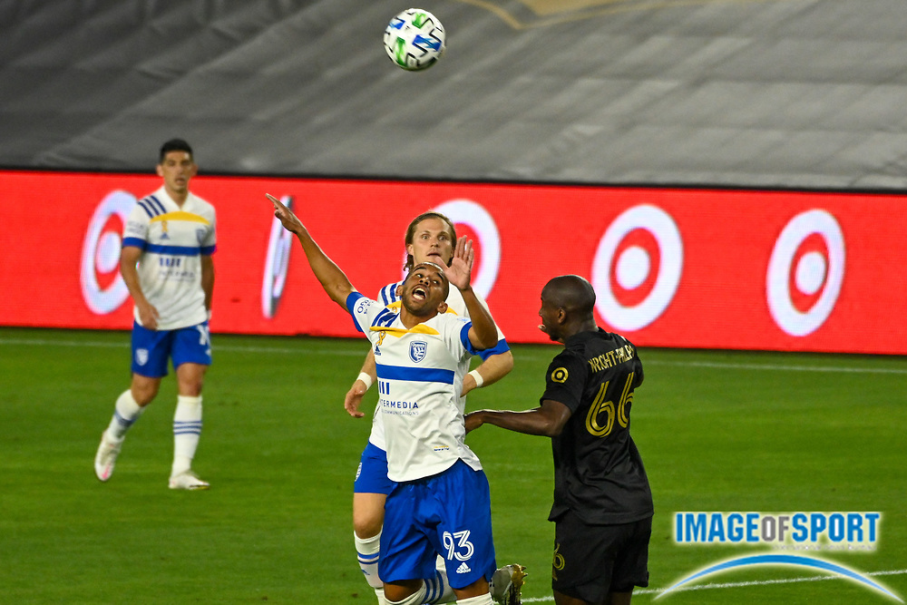 San Jose Earthquakes midfielder Judson (93) jumps to header the ball during a MLS soccer game, Sunday, Sept. 27, 2020, in Los Angeles. The San Jose Earthquakes defeated LAFC 2-1.(Dylan Stewart/Image of Sport)