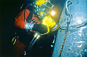 Alaska, Valdez. Underwater grinding at Prince William Sound's Valdez tanker termainal. MR.