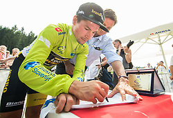Primoz Roglic of Team Lotto NL Jumbo, Stage winner and winner in Overall classification with Borut Pahor during trophy ceremony after the 5th Time Trial Stage of 25th Tour de Slovenie 2018 cycling race between Trebnje and Novo mesto (25,5 km), on June 17, 2018 in  Slovenia. Photo by Vid Ponikvar / Sportida