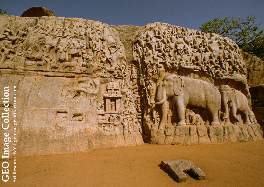 """The greatest achievement of the Pallava sculptors (who worked in the Dravidian style) was the seventh-century carving of an enormous (100-foot-long) granite b oulder on the seashore. Known as both the """"Penance of Arjuna"""" and """"The Descent of the Ganges,"""" it depicts fables from the Pancha Tantra (a Hindu religious text) and has, at its center, the Ganges descending to Earth by trickling through the hai r of Shiva (the Himalayas).  The subject of the relief is that of all creatures great and small, the devas in the skies, the nagas in the waves, and the members of the a nimal kingdom, giving thanks to Shiva for his miraculous gift to the Indian wor ld.  The cleft in the center of the giant boulder is dammed so that the spring rains are collected in the pond formed at the top.  At the height of the rainy season, wa ter pours over the dam and runs down the rock, simulating the descent of the Ga nges.  Arjuna was a mythical hero-prince whose poetic quasi-dialogue with the L ord Krishna, called the Bhagavadgita, is the most celebrated religious text of India.  The n ame """"Arjuna's Penance"""" derives from the fact that Arjuna, by austerity, has won a boon from Lord Shiva -- namely, the life-giving water of the Ganges.  -- Ind exed by Ilona Gants."""
