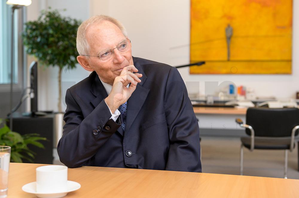 06 NOV 2019, BERLIN/GERMANY:<br /> Wolfgang Schaeuble, CDU, Bundestagspraesident, waehrend einem Interview, in seinem Buero, Reichstagsgebaeude, Deutscher Bundestag<br /> IMAGE: 20191106-02-001<br /> KEYWORDS: Wolfgang Schäuble