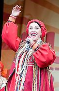 Russian singer Nadezhda Babkina performing at the Maslenitsa Festival, Trafalgar Square, London, UK (16 March 2013). Maslenitsa is a Russian festival celebrating the end of winter and the start of Spring.
