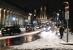 Heavy snow fell in Edinburgh today.<br />