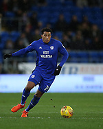 Nathaniel Mendez-Laing of Cardiff city in action . EFL Skybet championship match, Cardiff city v Preston North End at the Cardiff city stadium in Cardiff, South Wales on Friday 29th December 2017.<br /> pic by Andrew Orchard, Andrew Orchard sports photography.