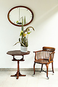 interior, vintage furniture, small table and chair