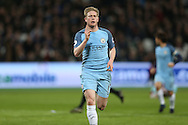 Kevin De Bruyne of Manchester City celebrates after scoring his sides 1st goal. Premier league match, West Ham Utd v Manchester city at the London Stadium, Queen Elizabeth Olympic Park in London on Wednesday 1st February 2017.<br /> pic by John Patrick Fletcher, Andrew Orchard sports photography.