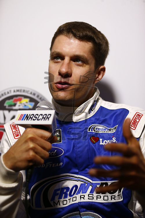 Daytona Beach, FL - Feb 22, 2017: David Ragan (38) meet with the media during the annual Daytona 500 Media Day at the Daytona International Speedway in Daytona Beach, FL.