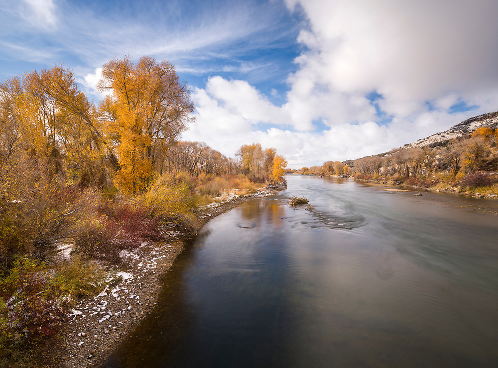 Last of the Autumn Color hangs down river from Heise Hotsprings on the South Fork of the Snake River in Eastern Idaho.  Licensing and Open Edition Prints.