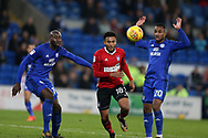 Grant Ward of Ipswich Town (c) gets away from Loic Damour ® and Sol Bamba of Cardiff City. EFL Skybet championship match, Cardiff city v Ipswich Town at the Cardiff city stadium in Cardiff, South Wales on Tuesday 31st October 2017.<br /> pic by Andrew Orchard, Andrew Orchard sports photography.