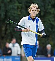 GROENEKAN - Pieter Woudenberg van hockeyclub Voordaan tijdens de hoofdklasse hockeywedstrijd tussen de mannen van Voordaan en Bloemendaal (3-7). FOTO KOEN SUYK