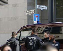 May 1, 2019 - Berlin, Berlin-Friedrichshain, Germany - Thousands of people marched through Berlin-Friedrichshain on Wednesday evening at the ''Revolutionary May Day Demonstration''. The demonstrators also moved through Riga Street, which is a center of the left-wing scene. The demonstrators did not pass a construction site in the street. The police had already sealed the site in the afternoon and watered hundreds of wooden pallets, apparently, so that they can not be lit. The police cars are also on the Frankfurter Allee. (Credit Image: © Simone Kuhlmey/Pacific Press via ZUMA Wire)