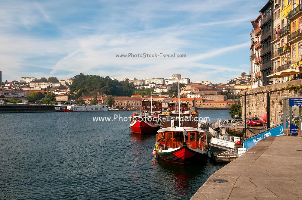 Porto, Ribiera Square pier, with the Douro River,  Porto, Portugal.