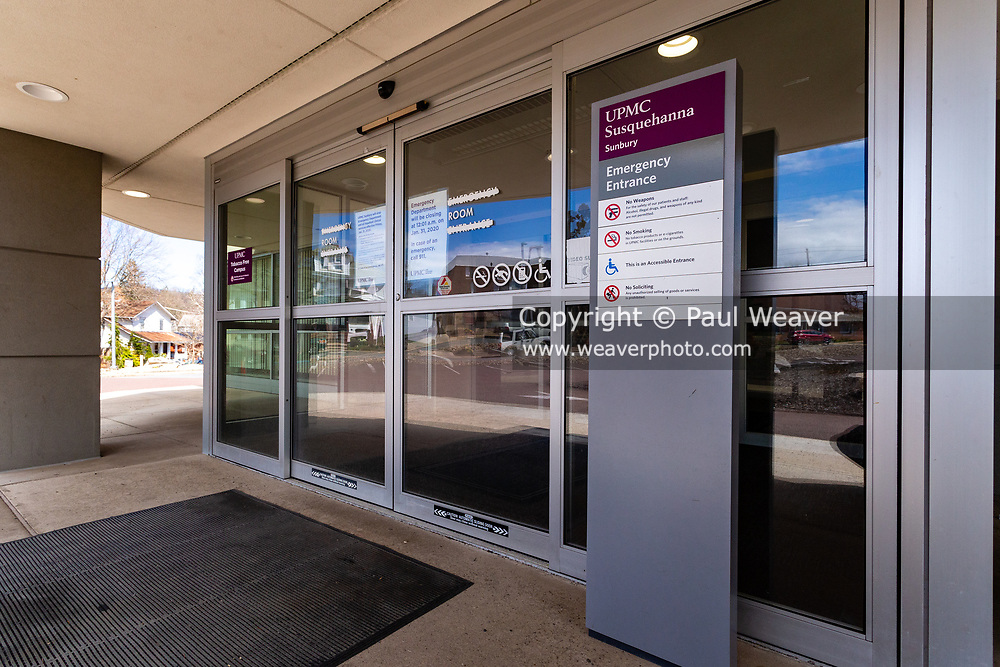 March 27, 2020 -- A sign at the entrance to the former Sunbury Community Hospital emergency department notifies the public that the hospital closed on January 31, 2020–about six weeks before the COVID-19 pandemic reached the area.