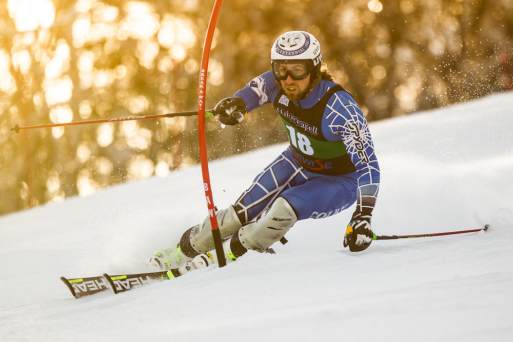 Craig Marshall of Colby College, skis during the first run of the men's slalom at the Colby College Carnival at Sugarloaf Mountain on January 18, 2014 in Carabassett Valley, ME. (Dustin Satloff/EISA)