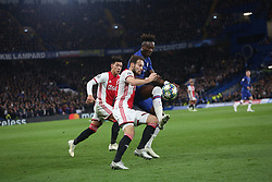 November 5, 2019: AMSTERDAM, NETHERLANDS - OCTOBER 22, 2019: Tammy Abraham (Chelsea FC) and Daley Blind (Ajax) pictured during the 2019/20 UEFA Champions League Group H game between Chelsea FC (England) and AFC Ajax (Netherlands) at Stamford Bridge. (Credit Image: © Federico Guerra Maranesi/ZUMA Wire)