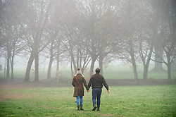 © Licensed to London News Pictures 28/02/2021.        Sidcup, UK. A cold foggy start to the day. As people get out of the house for some exercise at Footscray Meadows in Sidcup, South East London. Photo credit:Grant Falvey/LNP